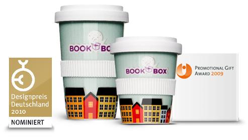 Porzellan bedruckt, der Coffee2Go Becher farbig und mit Logo-Druck