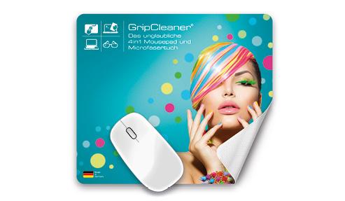 Grip Cleaner Mousepad von Polyclean, farbig bedruckt für Ihr Unternehmen