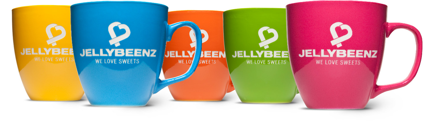 Farbiges Porzellan, durch Hydroglasur und Logo Gravur erhalten Sie einen besonderen Werbeartikel