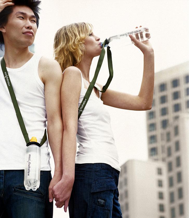 Die Waterbelt Umhängeflasche mit Logodruck, ideal zum Sponsoring